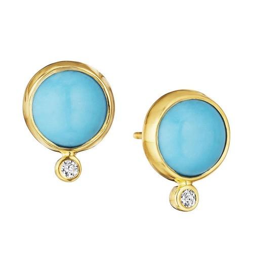SYNA Turquoise & Diamond Ear Studs