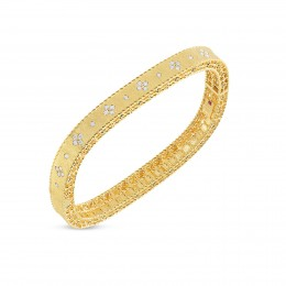 ROBERTO COIN SATIN FINISH SLIM BANGLE WITH FLEUR DE LIS DIAMONDS