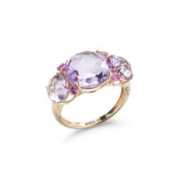A & Furst Lilies - Trilogy Ring with Rose de France and Pink Sapphires, 18k Rose Gold.