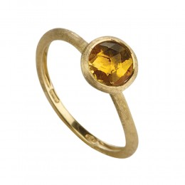 Marco Bicego 18K Yellow Gold & Rose Cut Cushion Citrine Stackable Ring