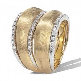 Lucia 18K Yellow Gold and Diamond Double Dome Ring