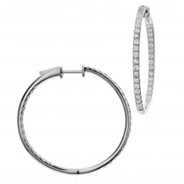 18k white gold in and out diamond hoops