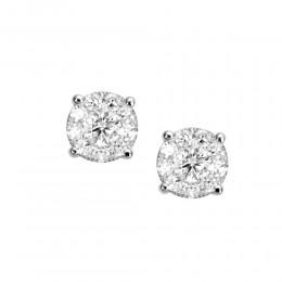 18KT 1.00CT DIAMOND ILLUSION STUD EARRING