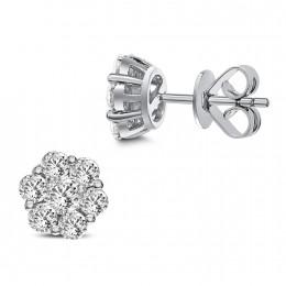 18k white gold floral diamond cluster earrings
