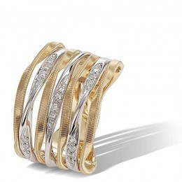 Marrakech Onde Gold and Diamond 7 Row Ring
