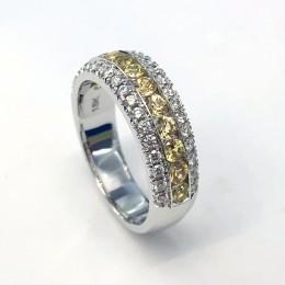 18k white gold three row diamond and yellow sapphire ring