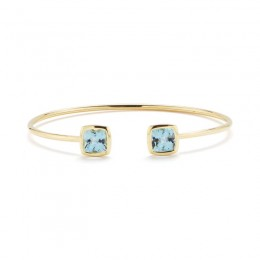 A & Furst Gaia Bangle Bracelet with Blue Topaz, 18K Yellow Gold
