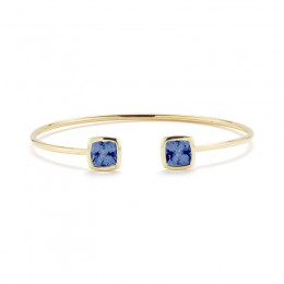 A & Furst Gaia Bangle Bracelet with London Blue Topaz, 18K Yellow Gold