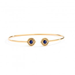 SYNA 18 karat yellow gold Kamala bracelet with blue sapphires (approx. 0.5 cts) and champagne diamonds(approx.(0.25cts).