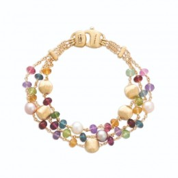 Africa Mixed Gemstone And Pearl Triple Strand Bracelet