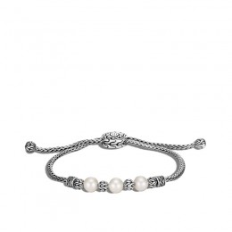 Classic Chain Pull Through Bracelet in Silver with Pearl