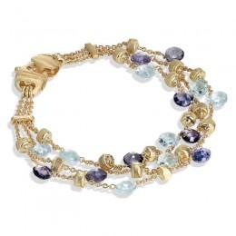 Paradise Iolite and Blue Topaz Three Strand Bracelet
