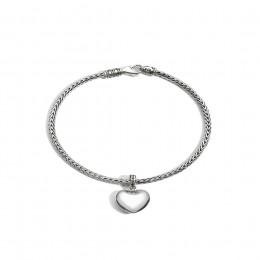 Classic Chain Heart Charm Bracelet in Silver