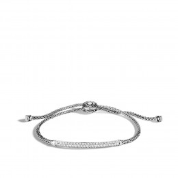 Classic Chain Station Pull Through Bracelet, Silver, Diamond
