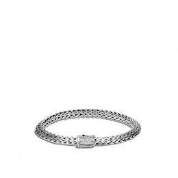 Classic Chain Silver Diamond Pave Tiga Bracelet