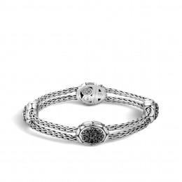 Kali 15MM Station  Bracelet in Silver with Gemstone
