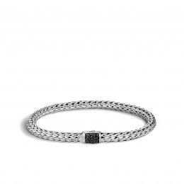 Classic Chain 6.5MM Bracelet in Silver with Gemstone