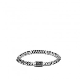 Classic Chain Silver Tiga 6.4mm Chain Bracelet with Pusher Clasp with Black Sapphire