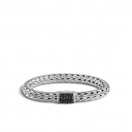 Classic Chain 10.5MM Bracelet in Silver with Gemstone