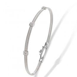 Masai Small Three Station Diamond Bracelet in White Gold