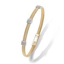 Masai Three Station Diamond Bracelet in Yellow Gold