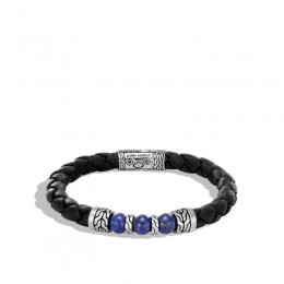 Classic Chain Silver Bracelet on 8mm Black Leather with Lapis Beads