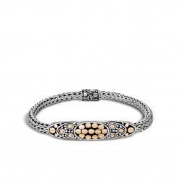 Dot Station 6.5MM Bracelet in Silver and 18K Gold