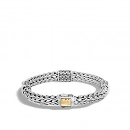 Classic Chain 7.5MM Hammered Station Bracelet, Silver, 18K