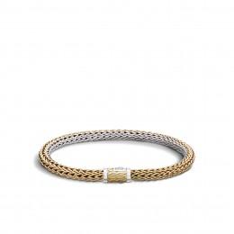 Classic Chain 6.5MM Reversible Bracelet, Silver, 18K Gold