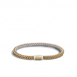 Classic Chain 6.5MM Reversible Bracelet, Silver, 18K Gold