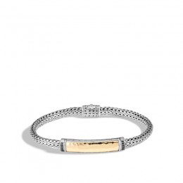 Classic Chain Hammered 18K Gold and Silver Extra-Small Bracelet 5mm with Pusher Clasp with Black Sapphire, Size M BG