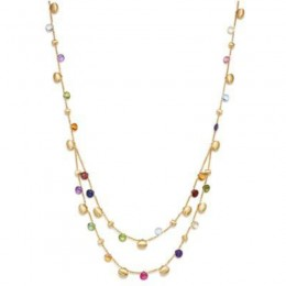 Paradise Mixed Gemstone Double Bib Necklace