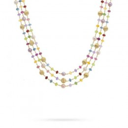 Africa Mixed Gemstone and Pearl Triple Strand Necklace