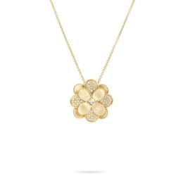 Petali 18K Yellow Gold and Pave Large Flower Pendant