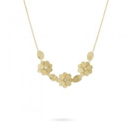 Petali 18K Yellow Gold Three Flower Necklace