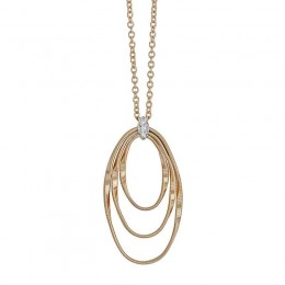 Marrakech Onde Yellow Gold and Diamond Concentric Small Pendant