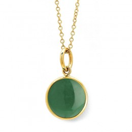 SYNA 18k yellow gold 10mm chakra emerald green chalcedony (May) charm appx. 3.5cts