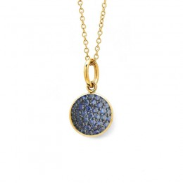 Kalpataru ( Syna ) 18 karat yellow gold 7mm chakra blue sapphire ( September ) charm.