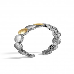 Dot 13MM Flex Cuff in Hammered Silver and 18K Gold