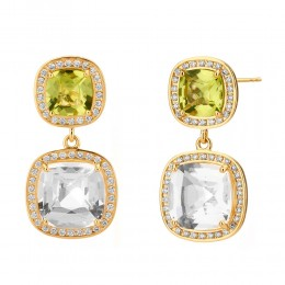SYNA 18K Yellow Gold Peridot & Rock Crystal Cushion Earrings With Champagne Diamonds