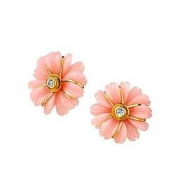 SYNA Jardin Pink Opal Flower Earrings