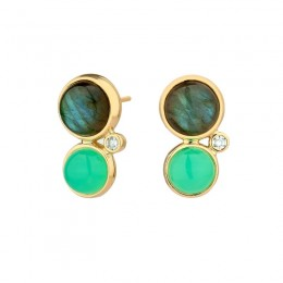SYNA An 18kyg chrysoprase appx 4cts and labradorite appx 8cts and diamonds appx .12cts Baubles earrings.