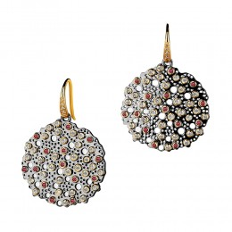 SYNA 18K Yellow Gold Oxidized Silver Earrings With Rubies & Champagne Diamonds