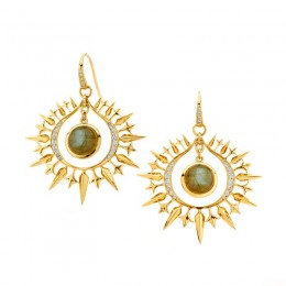 SYNA 18k yellow gold earrings with labradorite