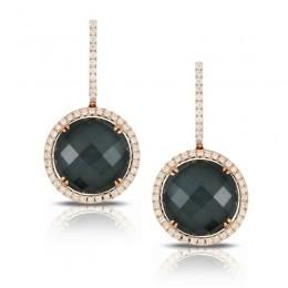 18K Rose Gold Diamond Earring With White Topaz Over Hematite