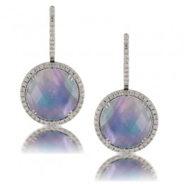 18K White Gold Diamond Earring With Lapis(Base), White Mother Of Pearl And Clear Quartz Triplet Center