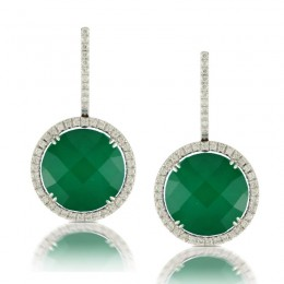 18K White Gold Diamond Earring With White Topaz Over Green Agate