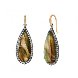 SYNA 18kyg 925 oxidized silver limited edition tear drop earrings with labradorite(Appx. 18cts)and champagne diamonds Appx. 1ct.