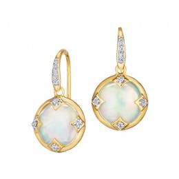 SYNA 18K Yellow Gold 10Mm Chakra Opal Earrings