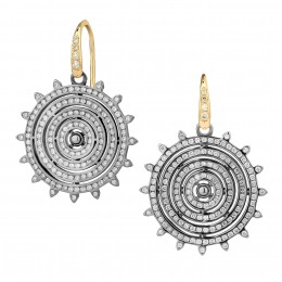 Syna Mogul 18k yellow gold wire earrings with 925 oxidized silver set with 1.50cts. in champagne diamonds